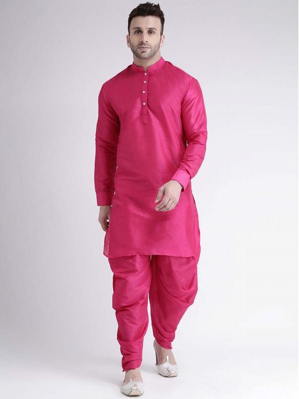 Dupion Silk Kurta Pajama in Pink Colour.