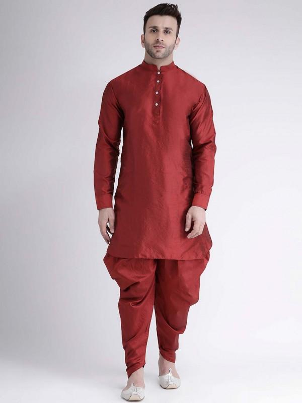 Maroon Colour Dupion Silk Men's Kurta Pajama.