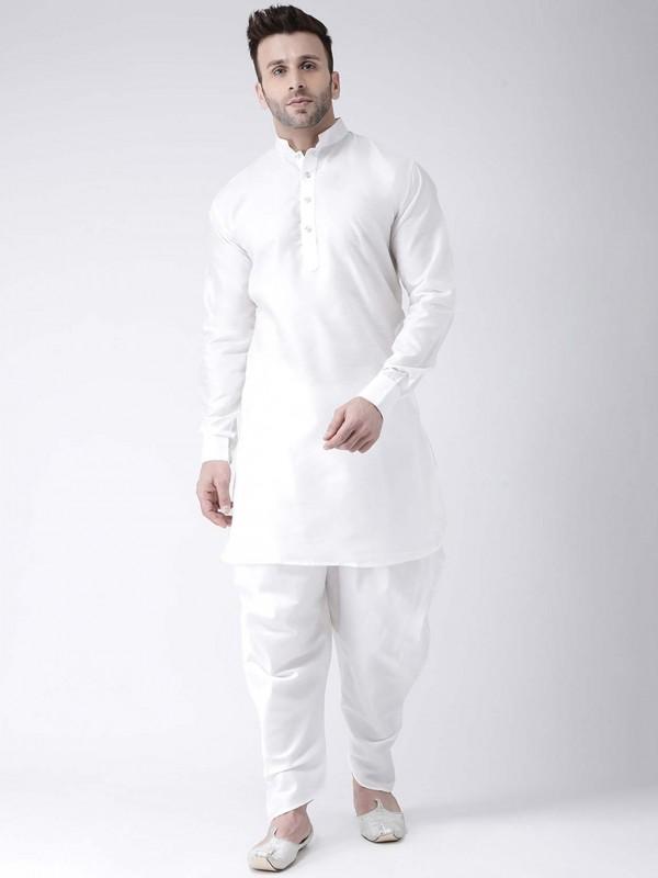 White Colour Dupion Silk Kurta Pajama.