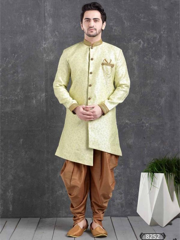 Light Green Colour Designer Semi Indowestern.