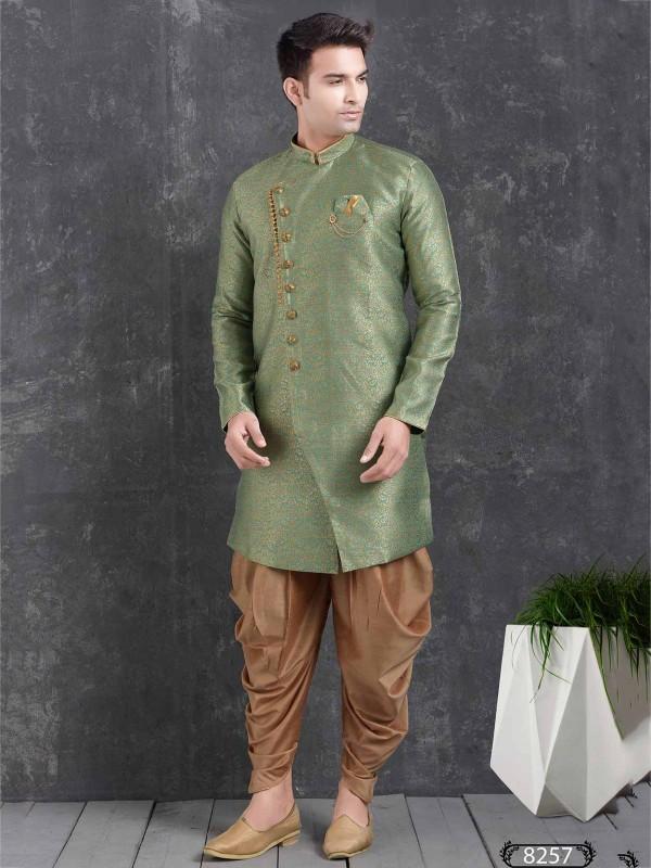 Green Colour Semi Indo Western.