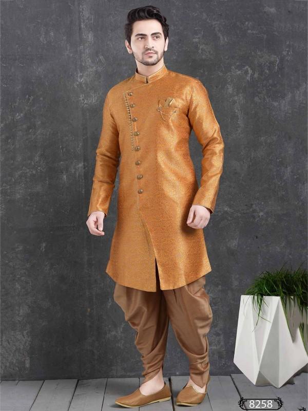 Orange Colour Brocade Silk Semi Indowestern.