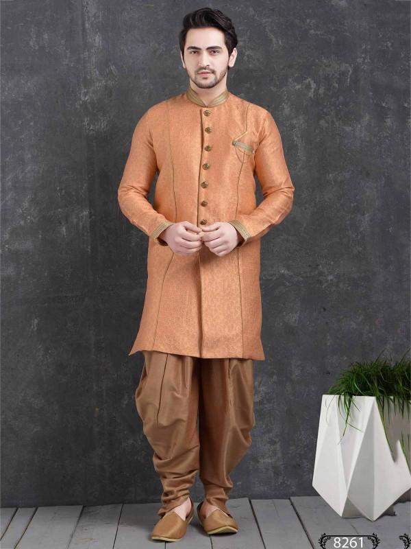 Peach Colour Brocade Silk Men's Indowestern.