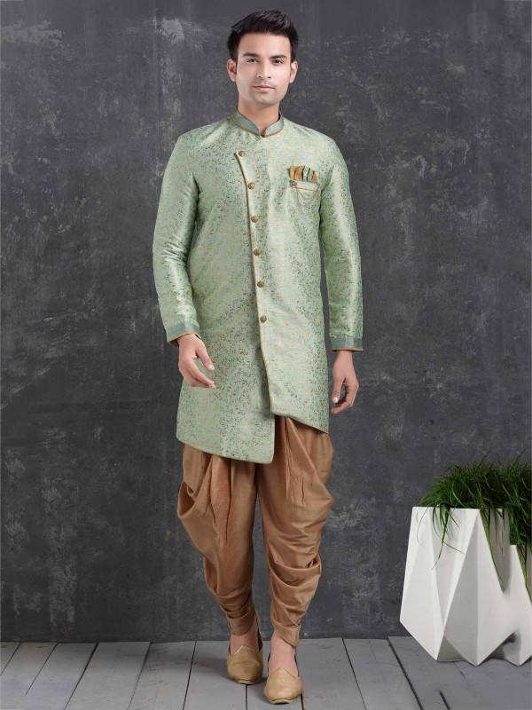 Men's Indowestern Pista Green Colour in Jacquard,Brocade Silk Fabric.
