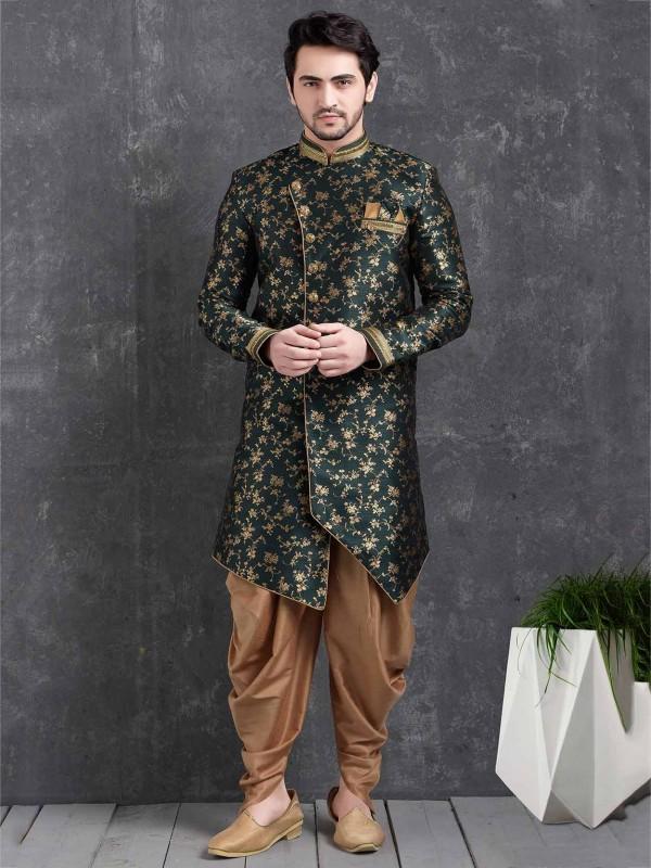 Brocade Silk Men's Wear Indowestern in Bottle Green Colour.