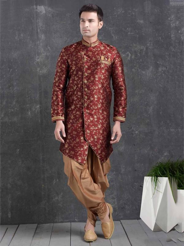 Maroon Colour Jacquard,Brocade Silk Semi Indo.