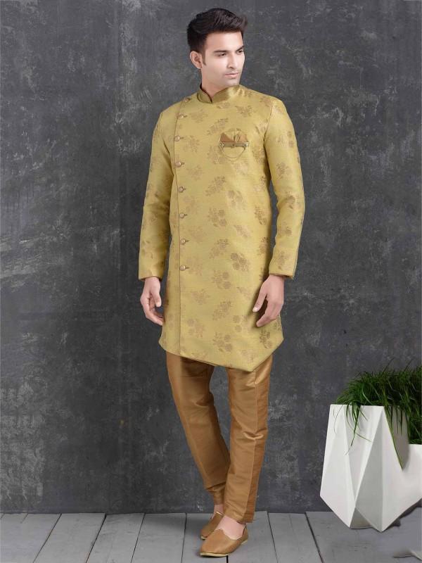 Mustard Yellow Semi Indowestern in Jacquard,Brocade Silk Fabric.