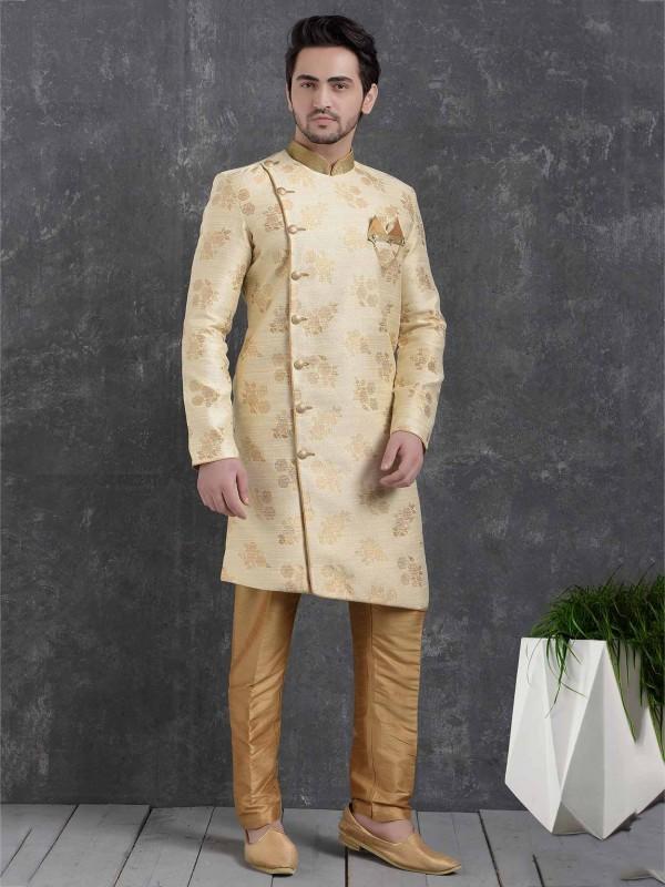 Cream Colour Men's Designer Indowestern.