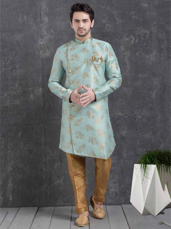 Sea Green Colour Brocade Silk Men's Indowestern.