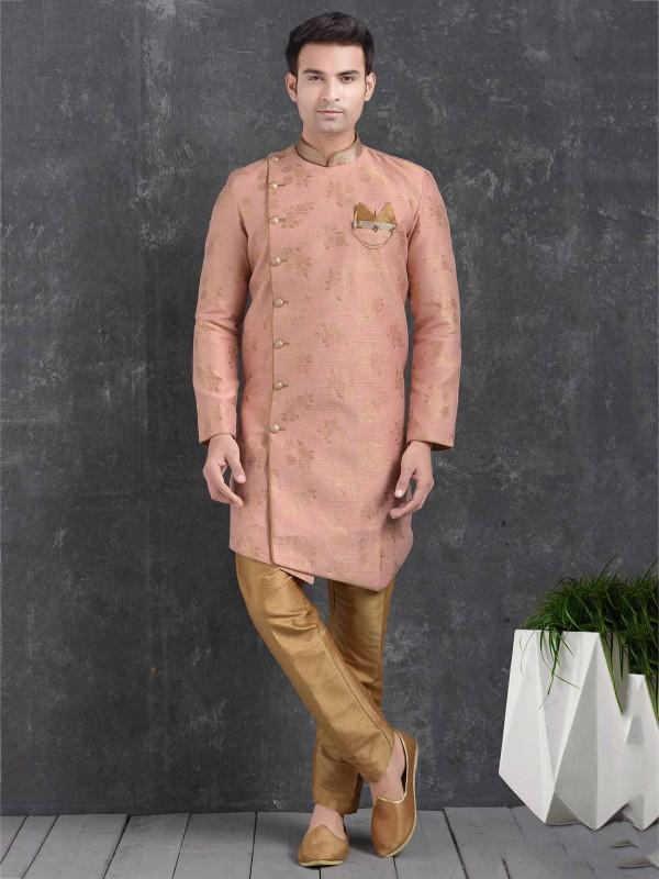 Peach Colour Jacquard,Brocade Silk Semi Indowestern.