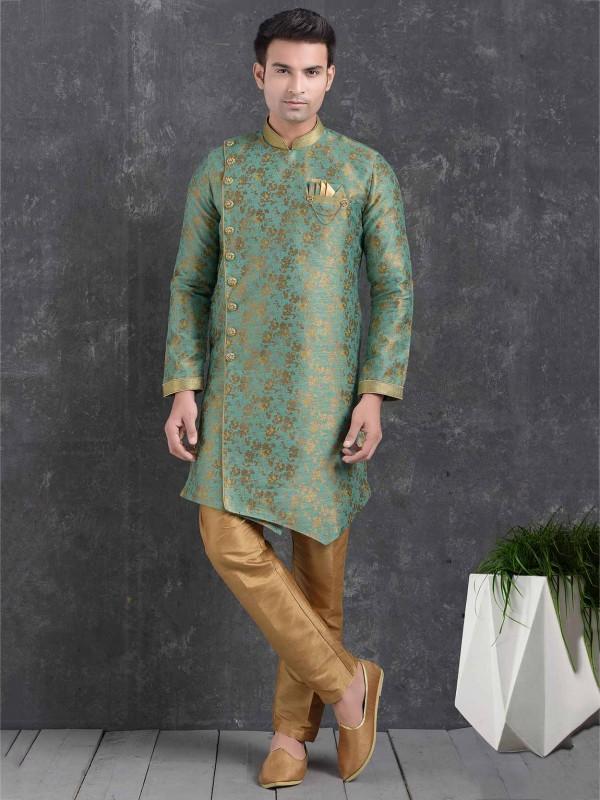 Brocade Silk Men's Indowestern in Green Colour.