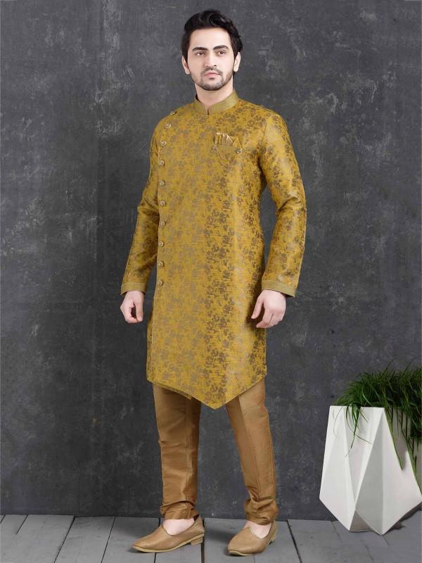 Yellow Colour Designer Men's Indowestern.