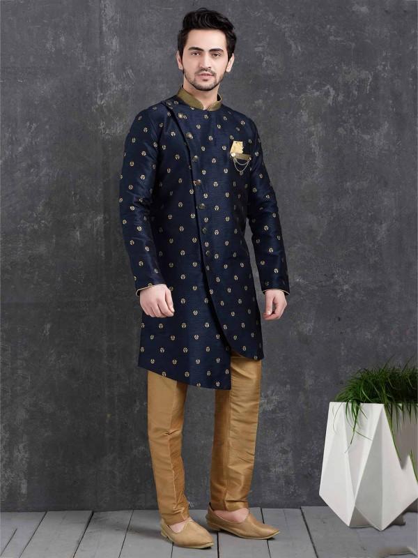 Blue Colour Brocade Silk Party Wear Indowestern.