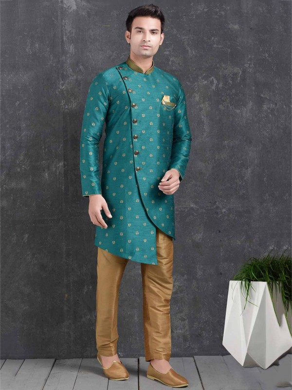 Pintux Men's Indowestern Green Colour in Brocade Silk Fabric.