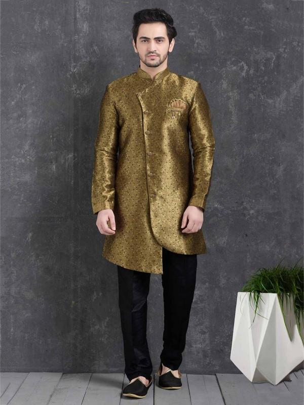 Brown Colour Brocade Silk Men's Indowestern.