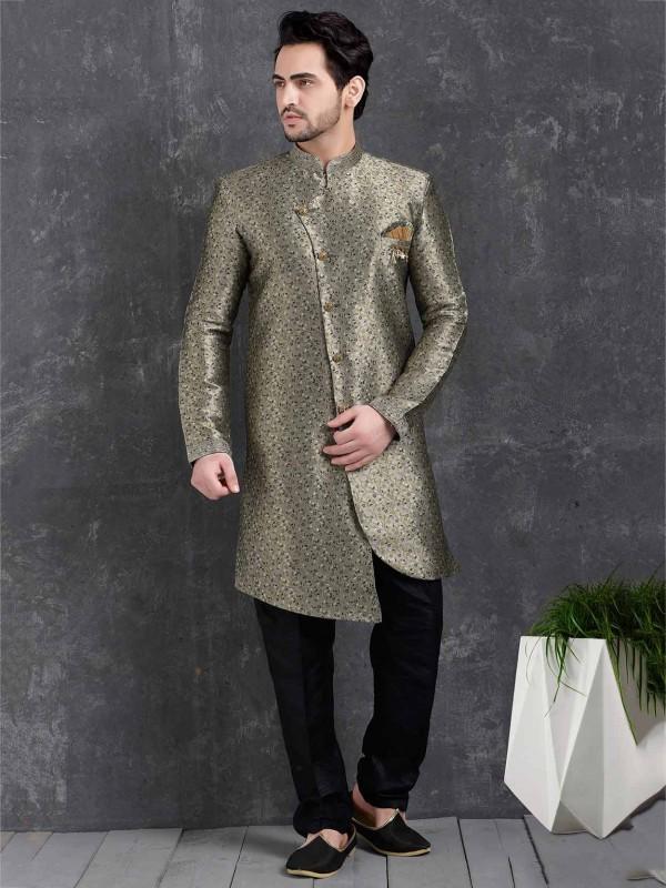 Grey Colour Jacquard,Brocade Silk Men's Indowestern.
