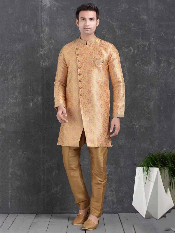 Peach Colour Jacquard,Brocade Silk Men's Indowestern.