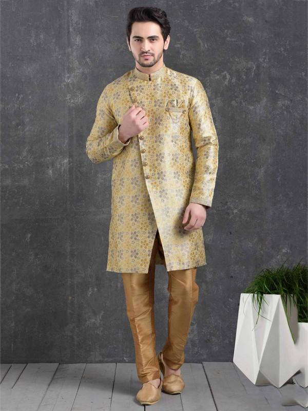 Grey,Cream Colour Men's Semi Indowestern.