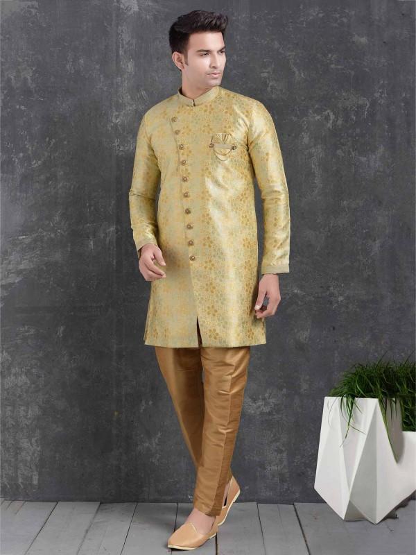 Yellow,Cream Colour Brocade Silk Semi Indowestern.