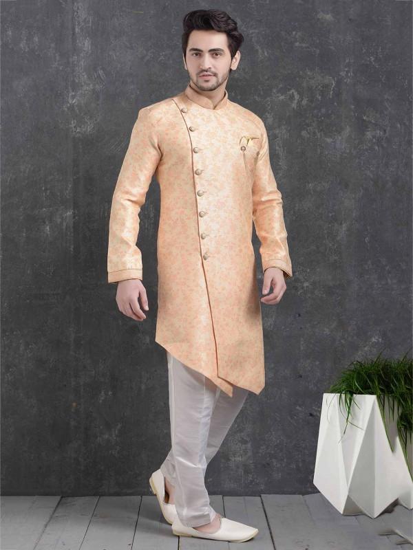Peach Colour Men's Semi Indowestern.