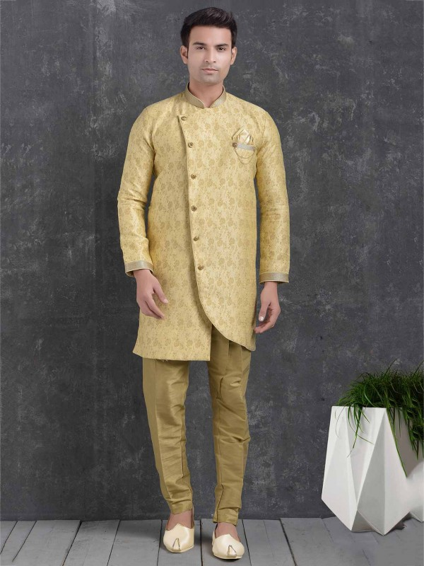 Stylish Designer Indowestern Cream Colour.