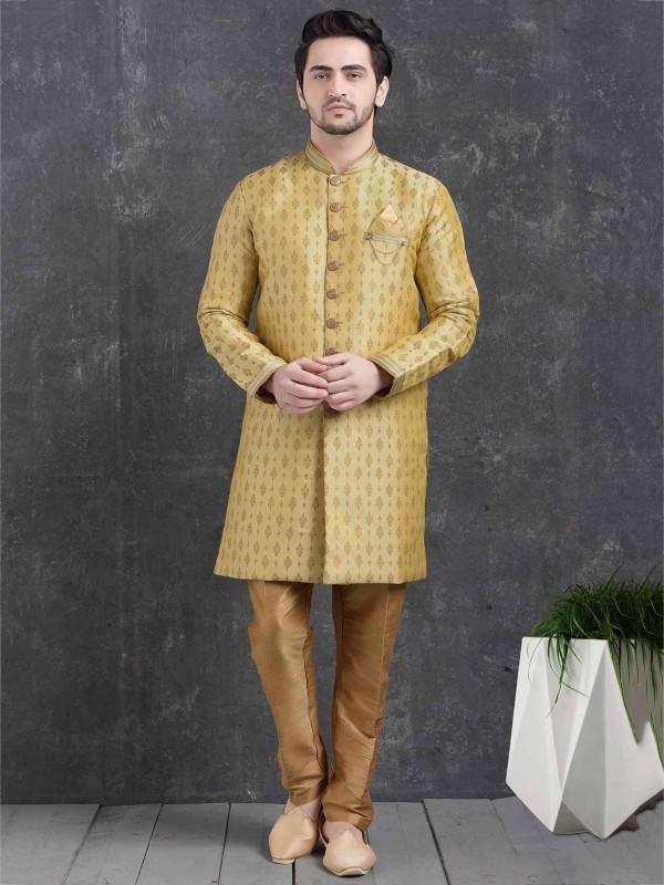Wedding Indowestern Golden Colour In Brocade Silk Fabric.