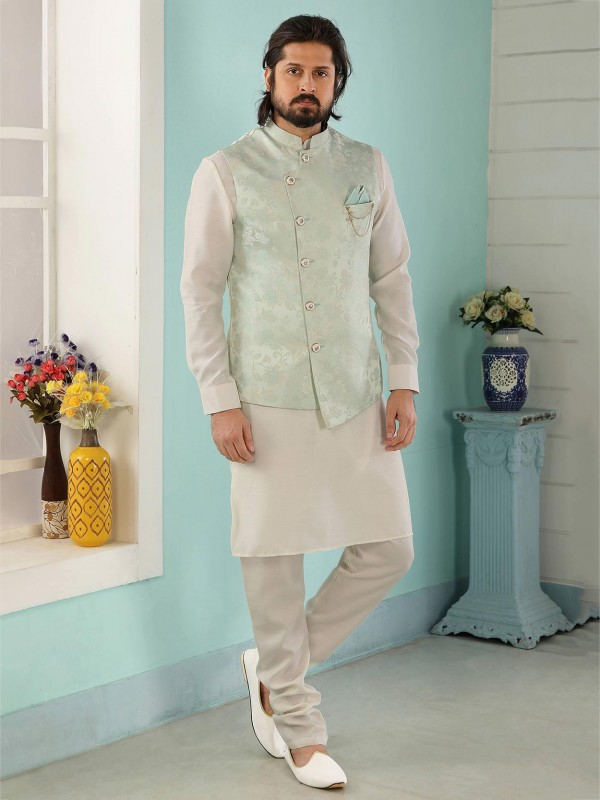 Pista,Cream Colour Banarasi Silk Men's Kurta Pajama Jacket.