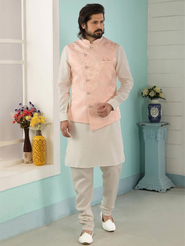 Peach,Cream Colour Jacquard,Banarasi Silk Fabric Men's Kurta Pajama Jacket.