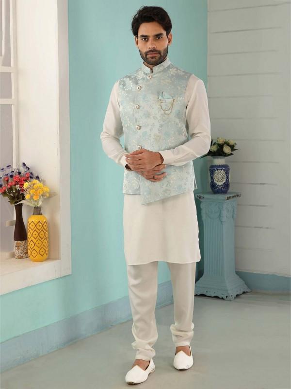 Sky Blue,Cream Colour Men's Kurta Pajama Jacket.