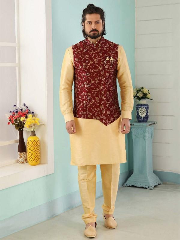 Designer Wedding Kurta Pajama Maroon,Cream Colour.