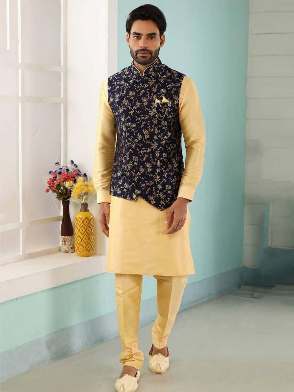 Blue,Golden Colour Jacquard,Banarasi Silk Party Wear Kurta Pajama.