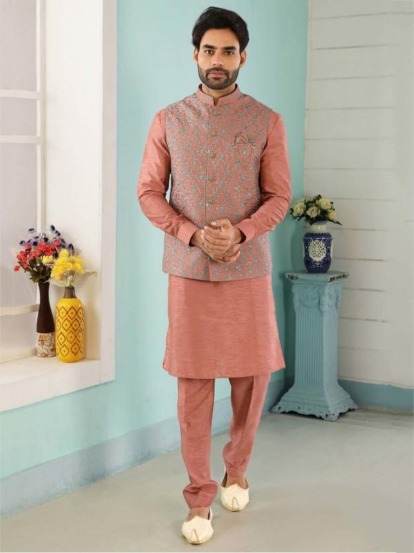 Rust Colour Banarasi Silk Designer Kurta Pajama Jacket.