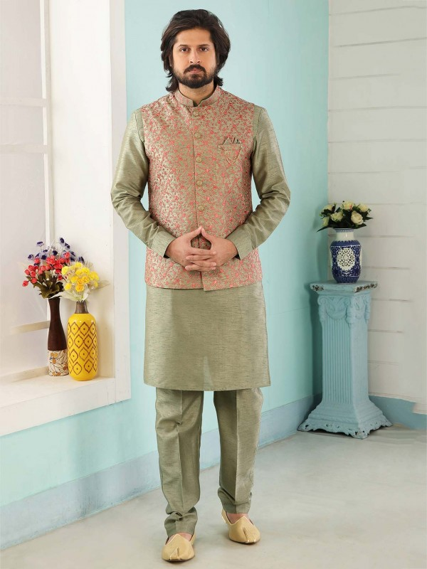 Green Colour Banarasi Silk Kurta Pajama Jacket.