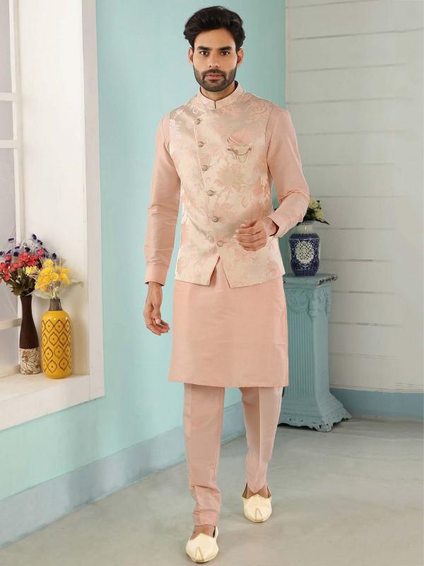 Cream,Peach Colour Jacquard,Banarasi Silk Men's Kurta Pajama.