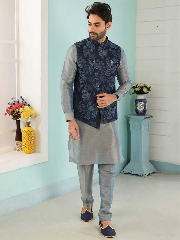 Blue,Grey Colour Men's Kurta Pajama Jacket.