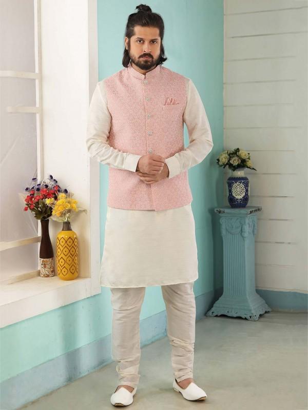 Pink,Cream Colour Banarasi Silk Designer Kurta Pajama Jacket.
