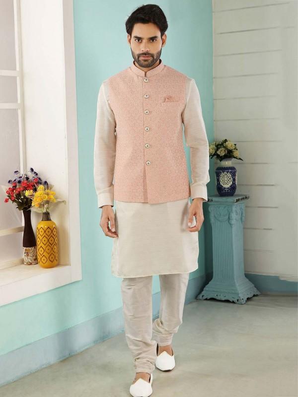 Peach,Cream Colour Banarasi Silk Men's Kurta Pajama Jacket.
