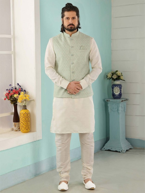 Pista,Cream Colour Men's Kurta Pajama Jacket.