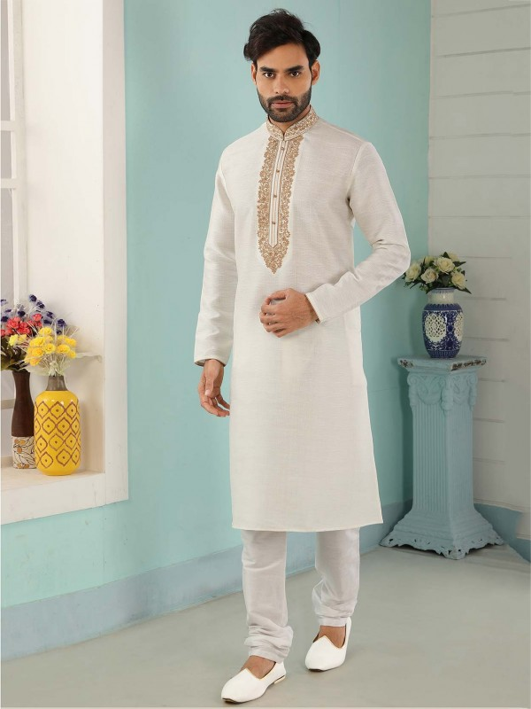 Banarasi Silk Men's Kurta Pajama in Off White Colour.