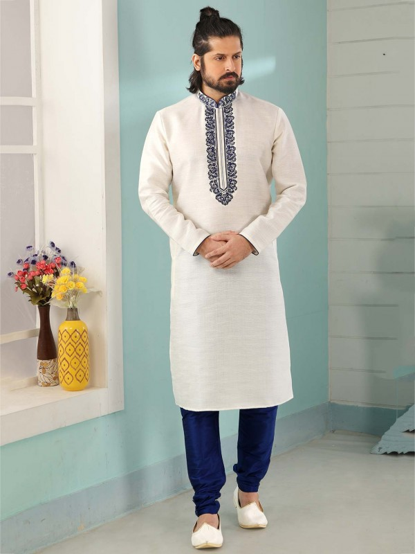 Off White Colour Banarasi Silk Men's Kurta Pajama.