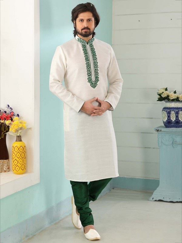 Off White Colour Embroidered Kurta Pajama.