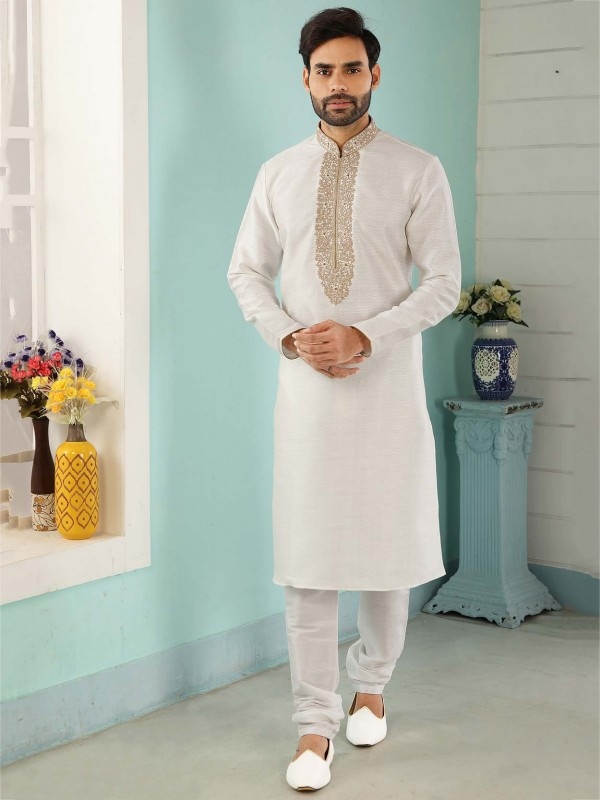 Off White Colour Designer Kurta Pajama in Banarasi Silk Fabric.