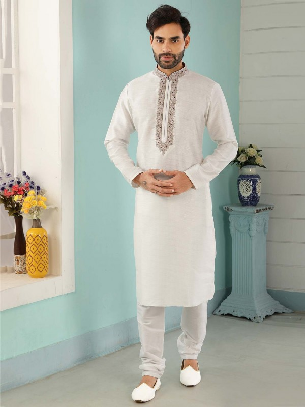Off White Colour Men's Kurta Pajama.