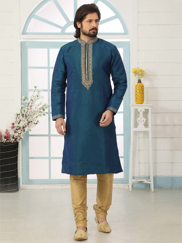 Banarasi Silk Fabric Blue Colour Designer Kurta Pajama.