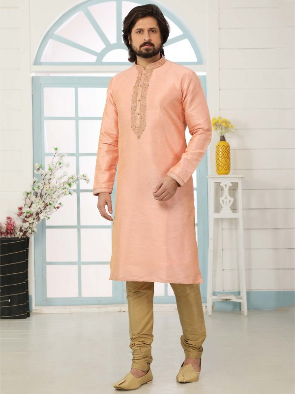 Peach in Banarasi Silk Men's Kurta Pajama.