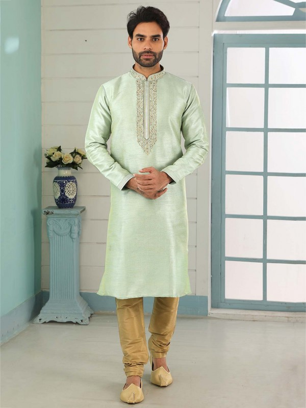 Pista Green Colour Banarasi Silk Fabric Kurta Pajama.