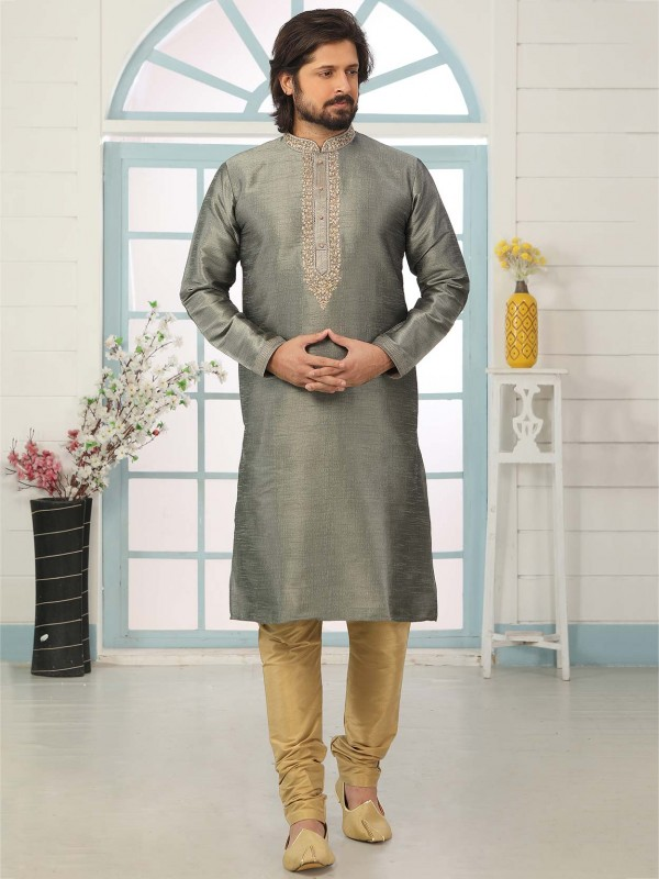 Banarasi Silk Men's Kurta Pajama in Grey Colour.