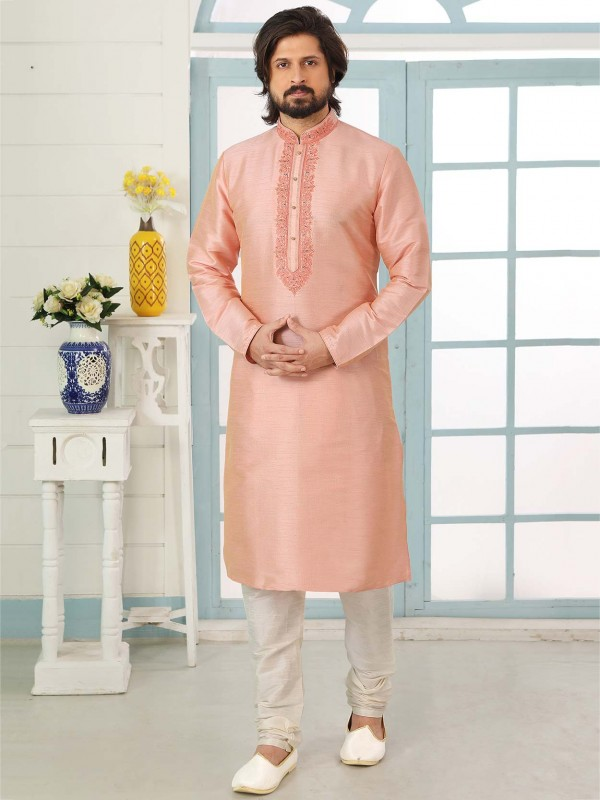 Pink Colour Banarasi Silk Men's Kurta Pajama.