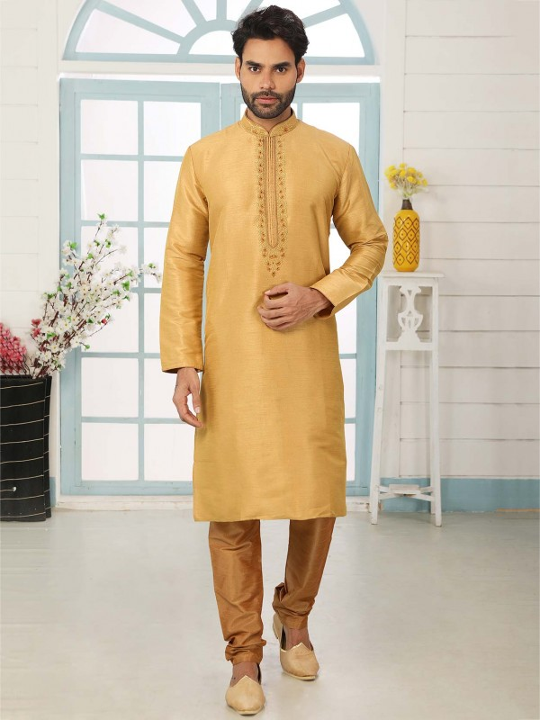 Golden Colour Banarasi Silk Wedding Kurta Pajama.