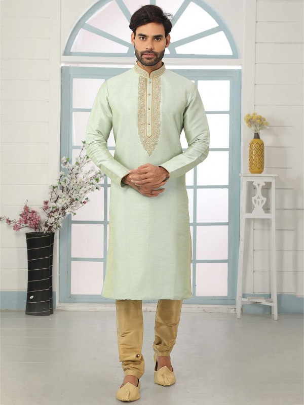 Pista Green Colour Banarasi Silk Fabric Men's Kurta Pajama.